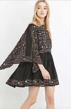 NWT Black Free People Frida Embroidered Boho Hippie Drape Sleeve Dress XS $168
