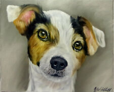 Colorful Jack Russell Dog Oil Painting Animal Pet Portrait