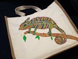 Hand Painted Chamaeleon Large Jute Bag Beach Travel Gift Shoulder Shopping Tote