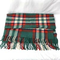 Vintage Troy Robe Blanket Throw Lap Red Green Plaid Fringed Made In USA 54 x 53