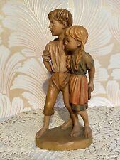 "Anri Vintage U. Bernardi Carved Wood Boy Girl Children Statue Figure Italy 10""💖"