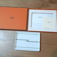 HERMES PARIS Porcelain Dish Tray Rhythm Tableware 16 x 12cm w/ Case (NEW)