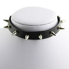 Cool Spike Leather Choker Collar Necklace Silver Tone Studs Emo Metal Gothic New