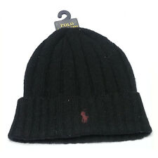 POLO Ralph Lauren Black with Red Logo beanie wool hat with cuff