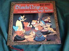 """Rare Walt Disney Book & Record 10"""" : Snow White ~ Blanche-Neige ~ Dany Robin"""