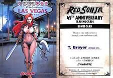 2018 RED SONJA 45TH ANNIVERSARY BONUS/PROMO CARD T.BREYER UNIQUE INC.