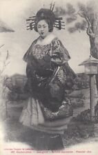 1913 Asian Japan Lady Portrait of a Geisha In Costume On Indochina Postcard