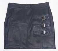 Qi, New York, Cashmere Catwoman Leather Skirt, 3 Buckles, Black, Women's Size S
