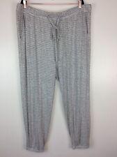 LOFT Ann Taylor Knit Pajama PJ Lounge Jogger Pants Gray Stripe 16/18 Plus NEW