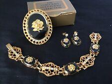 Exquisite Vintage Corocraft Gold Plated Brooch/Earrings/Bracelet Set 1950s #5215