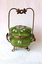 Antique Art Nouveau French enamel glass jewelry box ormolu mounts c 1890