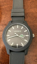 Lacoste Men's Quartz GREY Resin Watch - Textured Silicone Strap Band