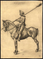 Antique Drawing-SOLDIER-PIKE-HORSE-I.W.-Durer-1884