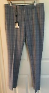 TOPMAN Blue Grey Checked Pants Super Skinny Fit 36R Brand New With Tag RRP $100