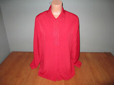 New Womens Size 16 XL Laura Scott Solid Red Blouse Shirt Top Button Front L/S