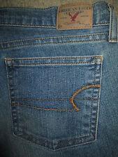 AMERICAN EAGLE Flare Stretch Medium Blue Denim Jeans Womens Size 6 Pet x 30