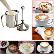 800ML Milk Frothing Double Mesh Coffee Tea  Creamer Foamer Stainless Steel UK