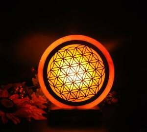 Himalayan Salt Lamp with Flower of Life Carved Wood, Dimmer, ETL Certified