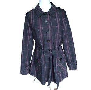 John Rocha Womens Raincoat Size 18 Black Check Belted