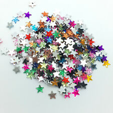 100pcs 10mm Mix color STARS Resin Rhinestone Gems Flat Back Crystal Beads