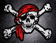 Large Pirate Patch Jolly Roger Skull and Crossbones Embroidered Iron Sew On