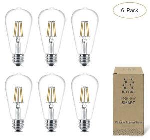 (6 Pack) E26 ST64 Vintage Edison Style Dimmable LED Filamen Light Bulbs