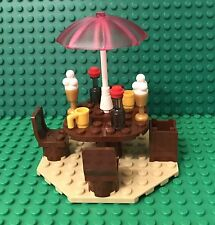 Lego Beach House Picnic Table W/ Umbrella Stand,chairs,mug,ice Cream,soda Bottle
