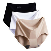 Women Seamless Panties Ice Silk Mid Waist Briefs Knickers Underwear Solid Color