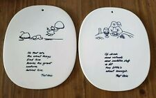 2 ROYAL COPENHAGEN DENMARK PIET HEIN POEMS WALL PLAQUE ART DANISH MODERN 1948 54