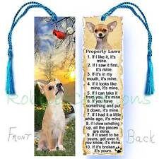 CHIHUAHUA Large BOOKMARK Tassel Dog RULES Property Laws  Book CARD Art Cardinal