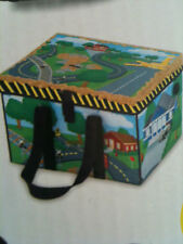 X-Large ZipBin Small Town Playmat Toy Box  w/ 4 cars Set Carry Case Storage