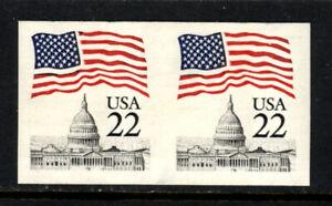 SCOTT 2115g 1985 22 CENT FLAG OVER CAPITOL ISSUE IMPERF COIL PAIR MNH OG VF!
