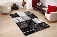 GREY BLACK NEW RUG RUNNER DOOR MAT THICK DENSE SOFT PILE 3D MODERN NEW DESIGNS