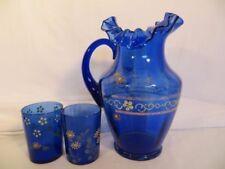 Fenton Glass Trend Mark Vtg 40s Fenton Blue Opalescent Hobnail Squat Juice Pitcher