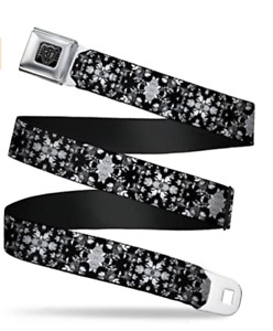 "Buckle-Down Seatbelt Belt - Floral Collage Black/Gray/White - 1.0"" Wide - 20-36"""