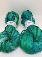 Sari silk ribbon, sea green, recycled ribbon. 10 yards. Weaving, macrame, crafts