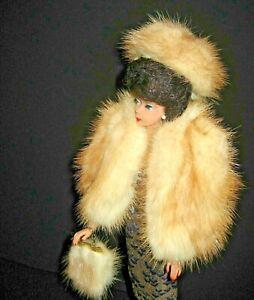 Custom Made Barbie or Similar Doll Mink Coat Cape W/Matching Hat & Purse CB