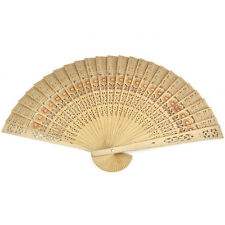 Chinese Folding Bamboo Original Wooden Carved Hand Fan fit Wedding Party Wb