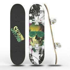 "Skateboard Complete 8 Layer Standard Maple Deck 31"" X 8"" Beginner Skull print"