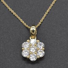 PM158 14K Solid Yellow Gold 1.50ct Created Diamond Cluster Pendant charm