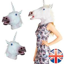 *UK Seller* Halloween Party White Unicorn Carnival Latex Rubber Full Head Mask