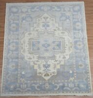 """8x10 Oushak Handknotted Fine Wool Rug Tribal Ivory,Blue,Gray,Beige Colors 1/2""""p"""