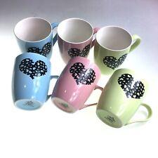 Set Of 6 Coffee/Tea Mugs Assorted Colours With Heart Design Massive Clearance