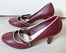 SIZE 7 40 Vintage 30s 40s 50s Wartime Landgirl Style Burgundy Mary Jane Shoes