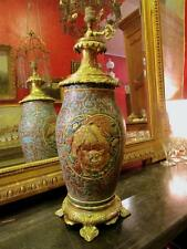 grand vase japonais fin XIXeme monté lampe bronze doré decor émaillé lion