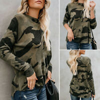 Women's Long Sleeve Baggy Loose Camo Camouflage T-Shirt Casual Pullover Tops Tee