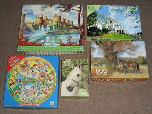 5x Job Lot Jigsaw Puzzles Falcon Arrow - Horses Conway Castle Snow White Bundle
