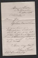 Letter. 1891 from John Brookes, Manor Farm, Blunsdon to Thomas Franklin   zb.107