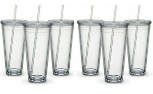 CA Straws Insulated Travel Tumblers 32 oz. | Double Wall Acrylic | 6 Pack