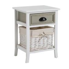 Table de chevet nuit 1 tiroir 1 panier bois pauwlonia shabby chic vintage gris